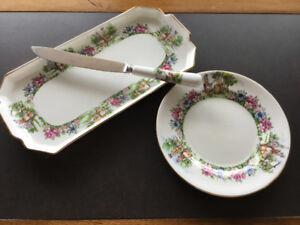 Vintage Sandwich Tray, Plate and Knife in Fine Bone China