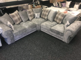 NEW: 5 SEATER VERONA CORNER SOFA WITH SCATTER BACK CUSHIONS