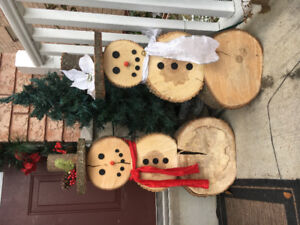 Handcrafted wooden snowman