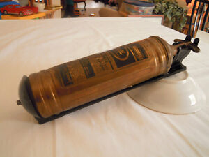 Vintage Pyrene Brass Wall Mounted Fire Extinguisher - TEXACO
