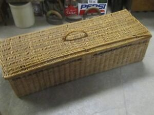 1950s CANE WICKER CARRYING STORAGE BOX $30 CABIN HOME DECOR
