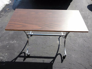 Vintage solid wooden metal base sofa table
