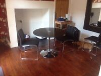 Glass Dining Table + 2 Leather Chairs