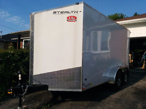 14' Cargo Trailer with custom shelving for tool storage