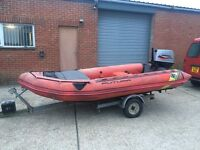 4.2 zodiac futura inflatable boat mk2 & trailer - 50hp mariner outboard engine