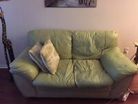 Pale Green faux leather love seat