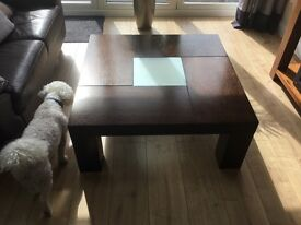 Square dark wood and frosted glass table