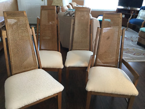 4 Pecan wood, off-white fabric seats, dining room chairs.