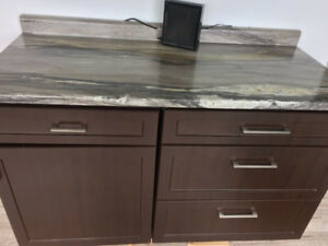 Used Kitchen Cabinets with Counter top, range hood, sink, facuet