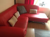 Red leather corner couch 150ono