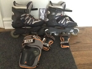 K2 womens roller blades with Fila knee pads and wrist guards