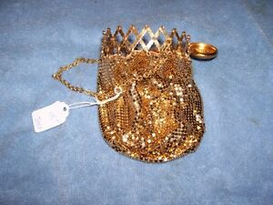 RARE USA Whiting & Davis Gold metal Mesh Bag
