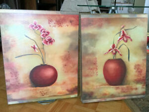 Gorgeous 3 WALL PICTURES Set, Painting Wooden Board 15''x19''