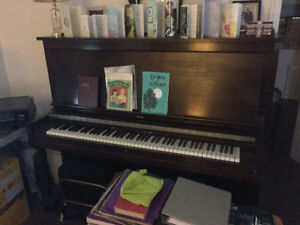 Vintage Upright Piano & Matching Bench