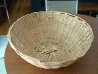 Grand Panier en Osier Vintage Antique Wicker Basket