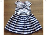 M&S navy cream lined dress brand new age 10-11 years
