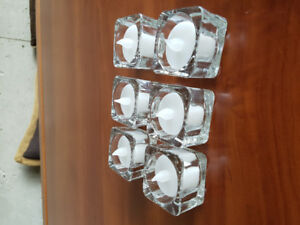 Battery tealight candles w/ glass holders (6)