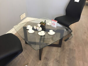 Brand New-Glass Top+Solid Wooden Leg Coffee Table