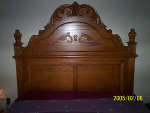 queen bed with brand new box spring and matress solid wood