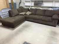 large two pieces couch 1 year old, a single bed and a double bed