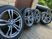 "Genuine Bmw 3 4 Series 18"" 441 M Sport Alloy Wheels & Tyres F30 31 32 33 E90 Z4 400m"