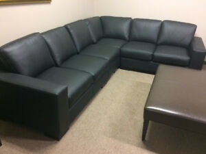 Brown Custom made Italian leather sectional  sofas