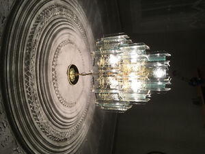 Golden and glass chandelier
