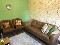 Three seater real leather sofa with 2 single sofa