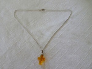 Sterling 925 Chain with an Amber Cross made in Italy