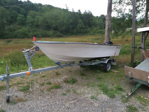 14 foot fibre glass boat with 20hp