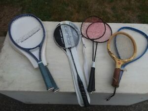 Various tennis, badminton and squash rackets
