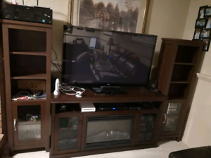 Fireplace TV stand with side storage units
