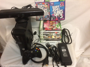 Xbox 360S with Kinect Camera and 10 Games, wireless controller,