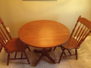 Table - Round drop leaf table and two chairs