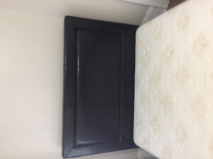 Beautiful Black Leather Frame with Double Mattress & Box & deliv