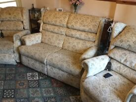 Two electric rise and recline chairs, with matching sofa (not electric)
