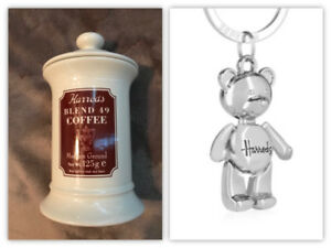 NEW HARRODS CANNISTER AND HARRODS TEDDY BEAR KEYCHAIN