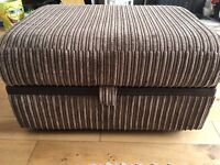 Pouffe footstool. Brown cord and faux leather