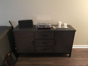 STRUCTUBE  Sideboard w/Storage! Sofa and Leather Ottoman