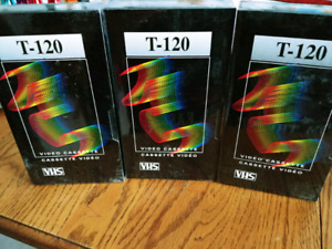 3 Blank T-120 VHS tapes **Brand New**