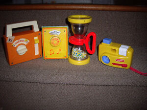 FISHER PRICE VINTAGE RADIOS/CAMERA/HOUR GLASS