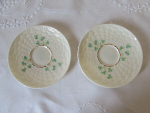 Pair of Vintage Belleek Saucers