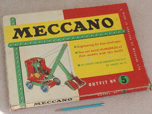 MECCANO Outfit 5, Early '60s, Box, Instr. Book, 100s of Parts.