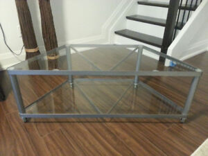IKEA GLASS AND METAL TV/MEDIA STAND
