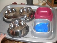 Stainless Steel and plastic cat dishes