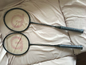Badminton racket with case and badminton tins