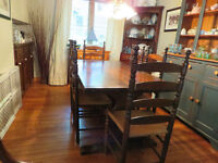 Pine trestle table & 6 ladder back chairs & 2pc corner hutch