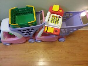 Toy shopping Carts, Cash machine and baskets