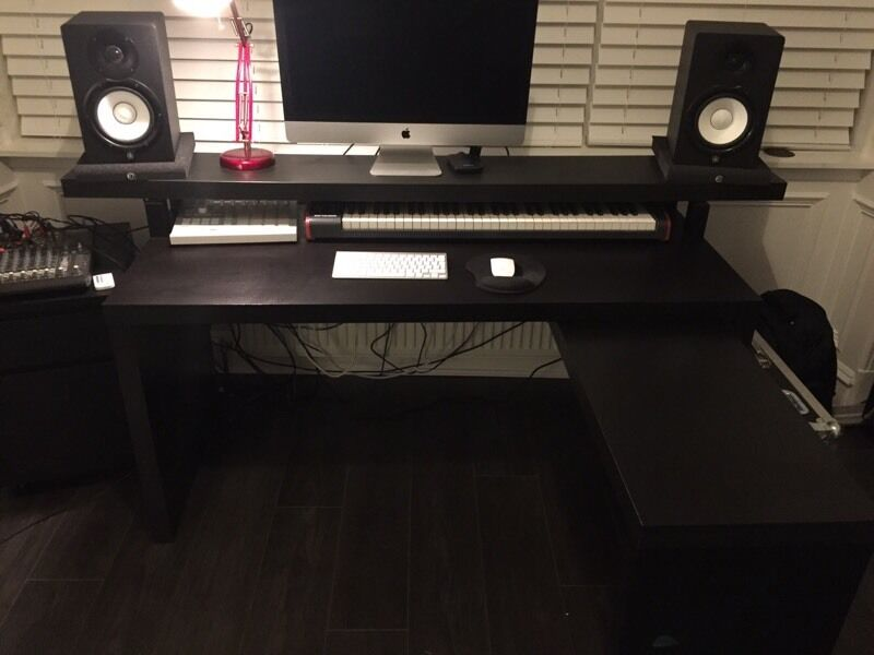 Music Production Producer Desk Ikea Malm With Pull Out Panel