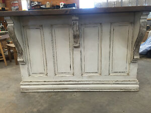 Bar or kitchen island antiqued in linen white